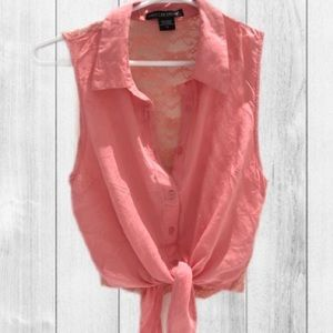 AMERICAN DREAM Sleeveless Lace Tie up Blouse- S